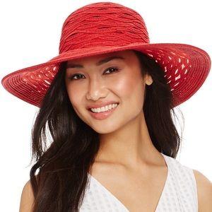 Ninewest Red Sheer Floppy Hat